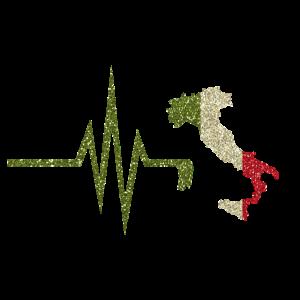 Mein Herz schlägt für Italien - Landkarte Flagge