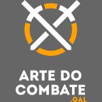 Logo «Arte do Combte» vertical sobre fundo preto