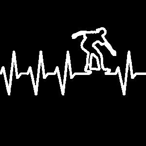 Herzschlag Puls Linie vom Skateboarder - Geschenk