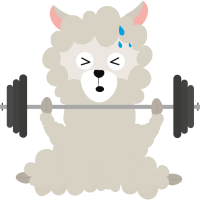 Fitness-Alpaka mit Gewichten