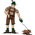 Friendly Lederhosen Man With Dachshund