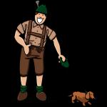 Friendly Lederhosen Man With Dachshund