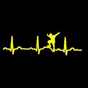 GESCHENK - EKG HERZSCHLAG SKATEBOARD gelb