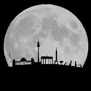 Berlin Skyline vor Mond Fernsehturm Bundestag Weltzeituhr Oberbaumbrücke Brandenburger Tor Funkturm-Brandenburger Tor,Funkturm,Hauptstadt,Mond,WELTZEITUHR,berlin,bundestag,city,fernsehturm,nacht,oberbaumbrücke,skyline-