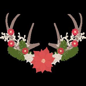 Geweih und Blumen