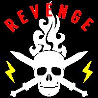 Totenkopf Schwerter Blitze Flammen Rache Rocker