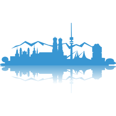 Munich München Silhouette - Die Skyline von München, Blick bis zu den Alpen und Spiegelung, in Bayernblau. - umriss,tagumtag,skyline,schattenriss,schatten,munich,frauenkirche,deutschland,berge,bayrisch,Zeichnung,Städte,Spiegelung,Silhouette,Riesenrad,Rauten,München,Heimat,Germany,Geografie,Blau,Bayern,Alpen