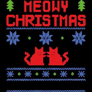 Hässliche Weihnachtspullover Meowy Weihnachten