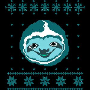 Hässliche Weihnachtsstrickjacke Faultier