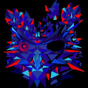 Eule Blau Rot