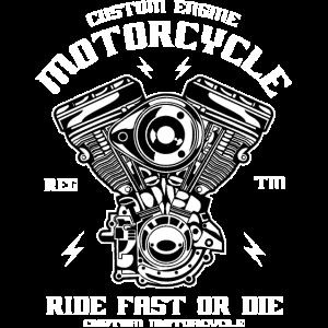 CUSTOM ENGINE - Motorrad und Biker Shirt Motiv