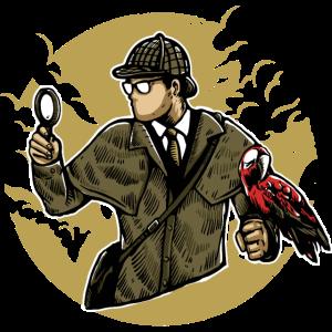 Detektiv mit Papagei