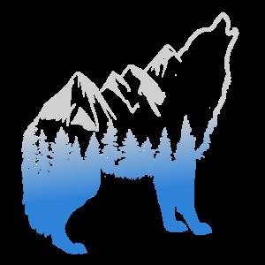Wolf Landschaft - Illustration - Wandern - Berge