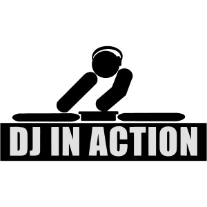 DJ in Action playing on his decks