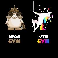 Einhorn vor dem Fitness-Studio und nach dem Fitnessstudio