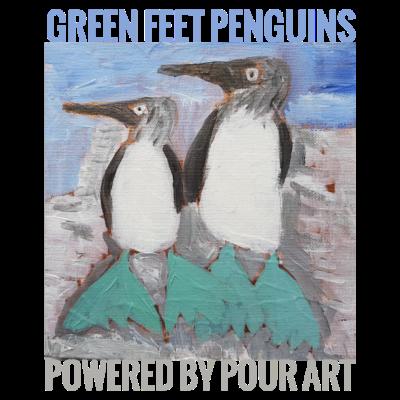 Grüne Füße Pinguine Stadt Gießen Kunst - handpainted Penguins - Füße,Penguins,gießen