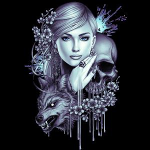 Wolfsschädel Mädchen Tattoo