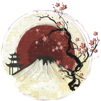 Fujiyama mit Lotusblüte im Sonnenuntergang