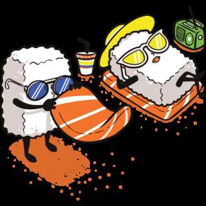 Sushi Strand lustig Fisch Geschenk Weihnachten