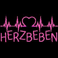 Herzbeben Schrift mit Herzschlag in pink