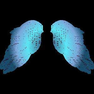 Blaue getönte Engelsflügel