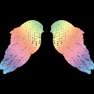 Regenbogen farbige Engelsflügel