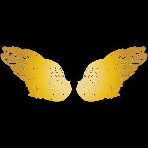 Flauschige goldene Engelsflügel