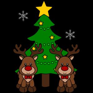 Weihnachtsrentiere mit Weihnachtsbaum