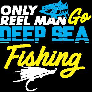 Nur Echter Mann geht Tiefseefischen Tiefsee Fische