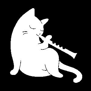 Katze spielt Flöte