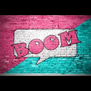 Boom Comic Ziegelsteinmauer Graffiti