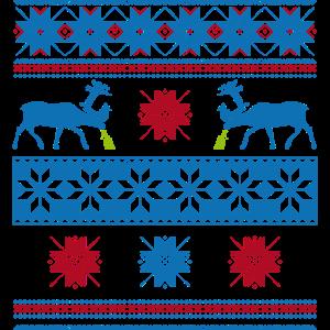 Norweger Pullover blau rot kotze