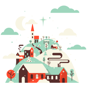 Stille Nacht, heilige Nacht. Winterdorf.Christian.