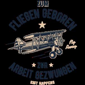 ZUM FLIEGEN GEBOREN - Flugzeug Shirt Geschenk