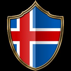 Island Flagge Wappen Gold 016