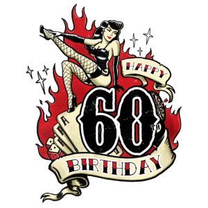 60th Birthday Pinup gift with sexy girl on fire - RAHMENLOS