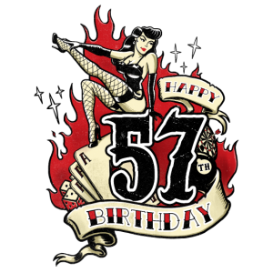 57th Birthday Pinup gift with sexy girl on fire - RAHMENLOS