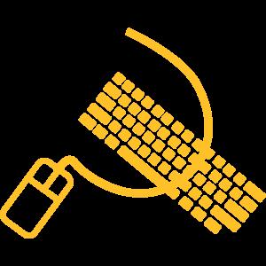 Maus und Tastatur wie Hammer und Sichel