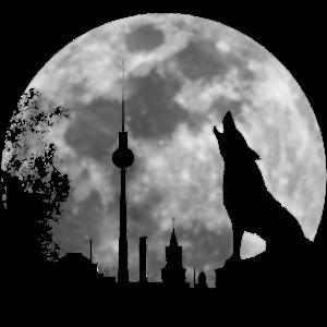 heulender Wolf Vollmond Skyline Berlin Geschenk