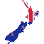 New Zealand Outline Map Flag Inside Vector