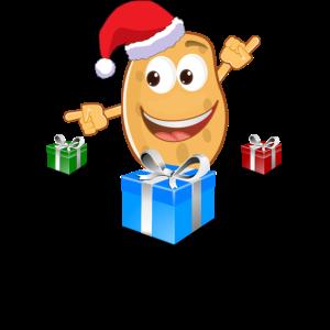 lustige christmas kartoffel mit weihnachtsmütze
