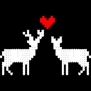 Trachtenmotiv Weihnachtsmotiv verliebter Hirsch