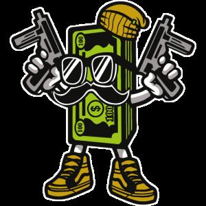 CASH GANGSTER - Cartoon Comicfigur Motiv Shirt