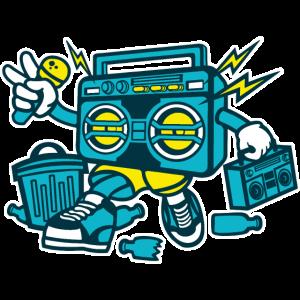 GHETTO BLASTER - Cartoon Comicfigur Shirt Motiv