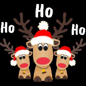 HoHoHo Rentier Nikolausmütze Weihnachten Niedlich