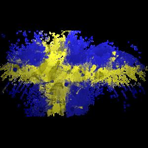 Schweden Flagge - Rabe art - Wasserfarben Kunst