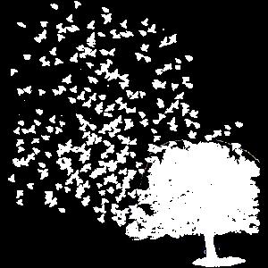 Vogelschwarm verlässt den Lebensbaum