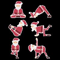 Weihnachtsmann im Yoga wirft T-Shirt auf