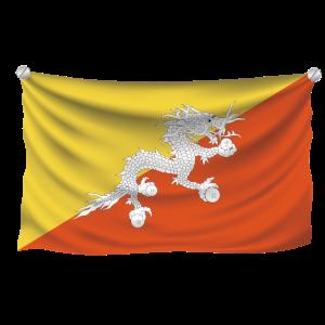 Flagge Bhutan realistisch