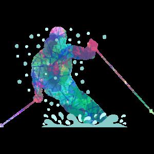 Bunter Skifahrer
